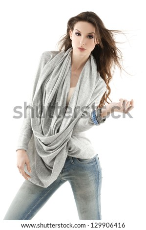 fashion model in jeans posing on white background - stock photo