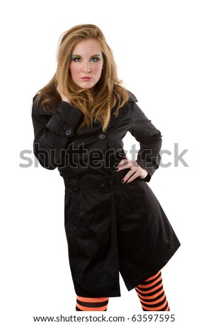 stock photo serious caucasian woman with long light blond hair casual outfit fashion pose
