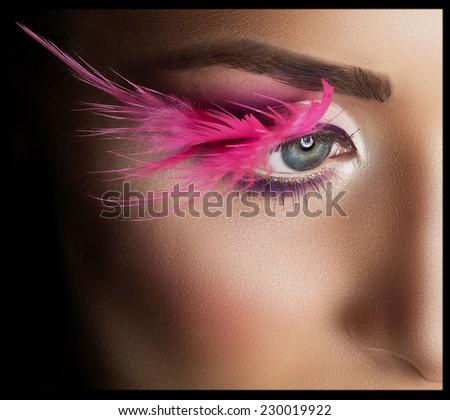 Fashion Model Portrait. Professional Makeup. False Eyelashes. Make-up - stock photo