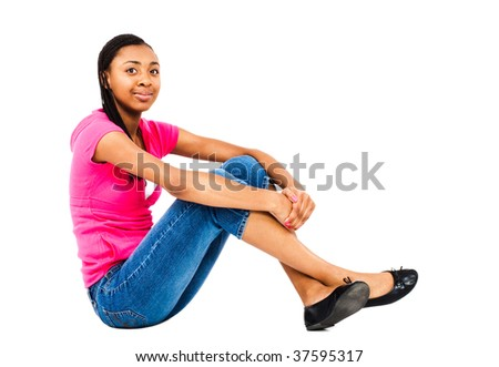 Fashion model posing and smiling isolated over white