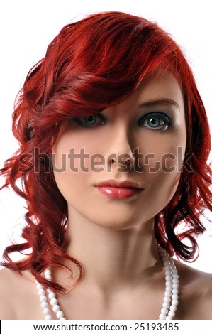 Fashion model red headed portrait isolated against a white background