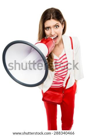 Fashion Model shouting with megaphone  - stock photo