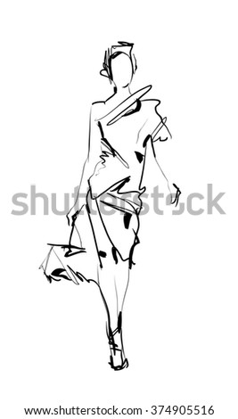 Fashion model. Sketch. - stock photo
