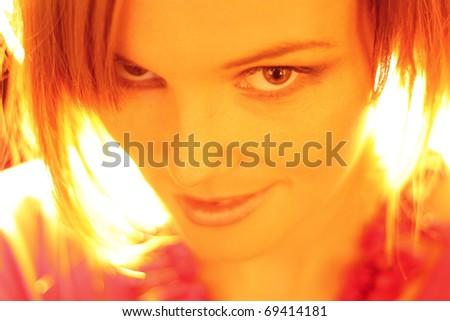fashion model smiling at the camera - stock photo