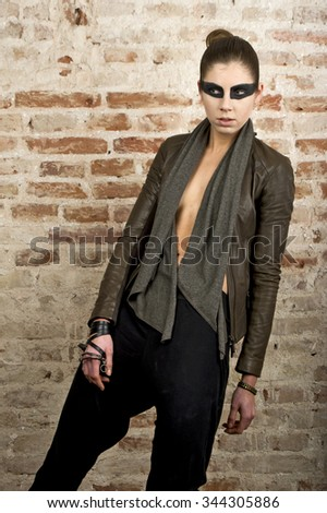 fashion model wear leather clothes for catalog shooting in different poses