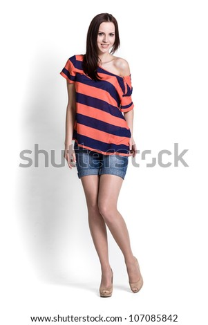 Fashion model wearing blue and red blouse with emotions - stock photo