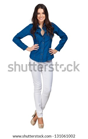 Fashion model wearing jeans shirt with emotions - stock photo
