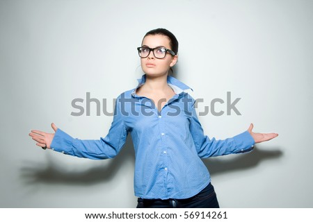 Fashion model wearing official clothes - stock photo