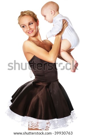 fashion model with baby boy - stock photo
