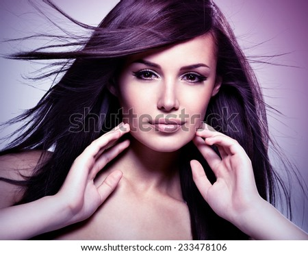 Fashion model  with beauty long straight hair.  Concept image is in tinting colorize style - stock photo