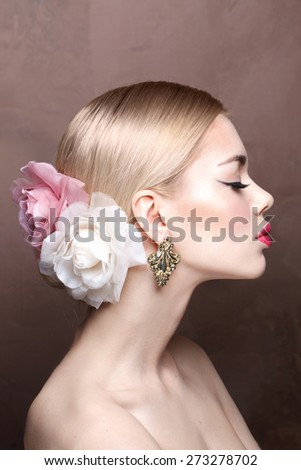 Fashion model with classic make up. Spring trendy look - stock photo