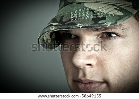 Fashion Model with destroyed army cap