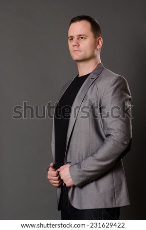 Fashion model with gray background