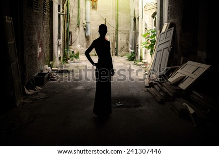 Fashion model, woman wearing dress - stock photo