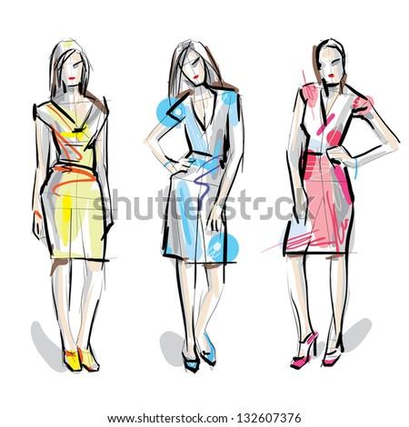 Fashion models. Sketch. Raster version. - stock photo
