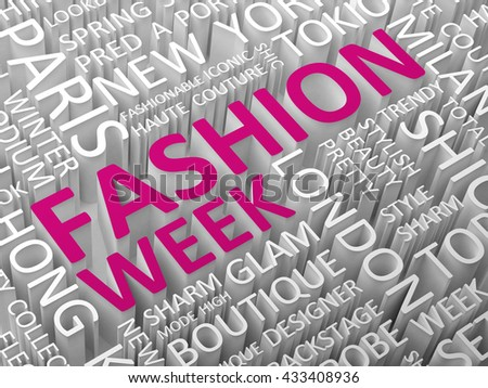 Fashion news word cloud with the associated words 3D illustration.