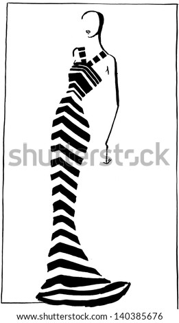 fashion of 20th Century - narrow striped evening gown in 90th years - stock photo