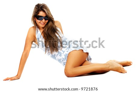 fashion or casual woman portrait wearing sunglasses giving a big smile - isolated over a white background - stock photo