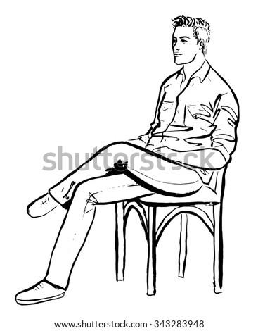fashion outline illustration man sitting cafe stock illustration 343283948 shutterstock. Black Bedroom Furniture Sets. Home Design Ideas