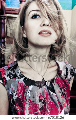Fashion photo of beautiful retro styled woman with magnificent hair - stock photo