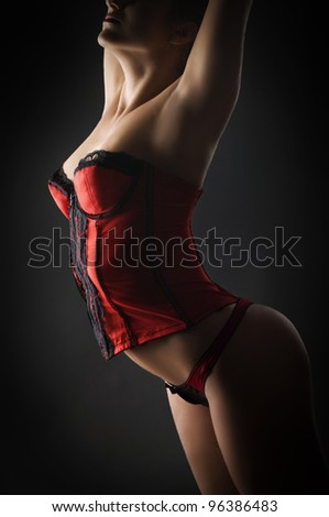 Fashion photo of beautiful woman in red lingerie