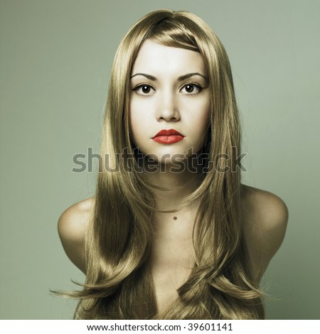 Fashion photo of beautiful woman with magnificent blond hair - stock photo