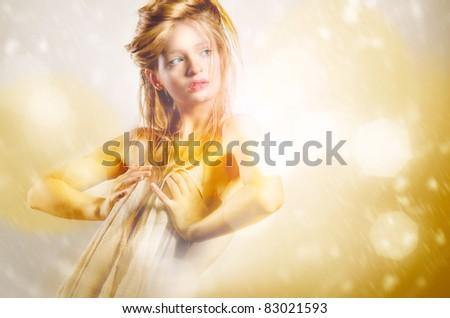 Fashion photo of young lady - stock photo