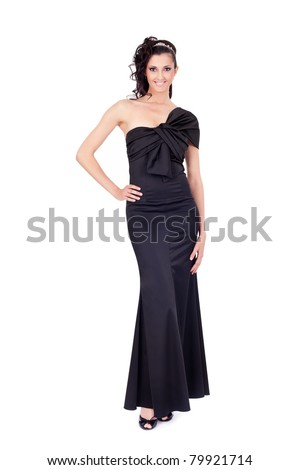 fashion photo of young lady in elegant evening dress, isolated on white background - stock photo