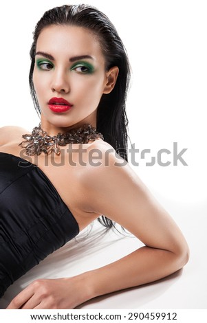 Fashion photo of young magnificent woman - stock photo