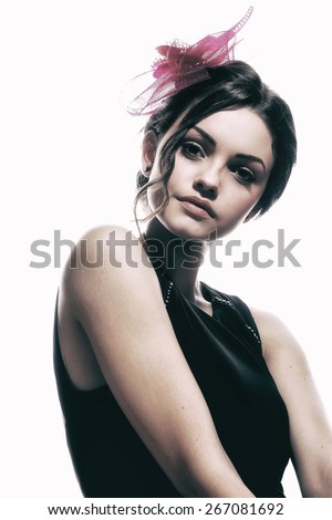 Fashion photo of young magnificent woman. Girl posing. Studio photo. Perfect Skin. Professional Make-up.Makeup. Fashion Art.Vogue Style.