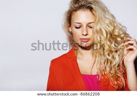 Fashion photo of young sensual woman - stock photo