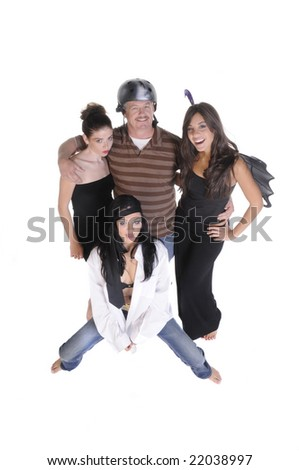 Fashion photographer and models fooling around after a shoot - stock photo