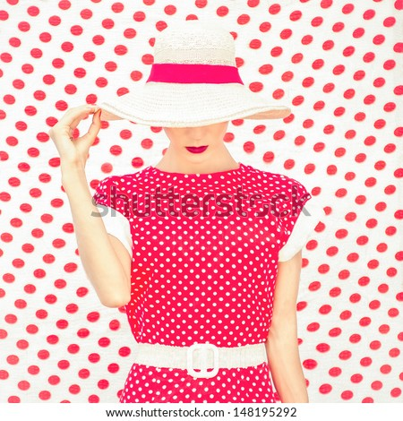 Fashion Polka Dots Woman - stock photo