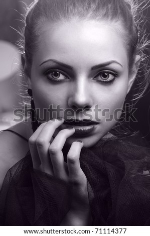 Fashion portrait, black-and-white