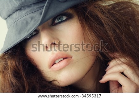 fashion portrait for magazine cover - stock photo