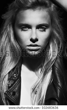 fashion portrait of a beautiful girl - stock photo