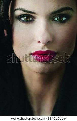 fashion portrait of a beautiful girl closeup - stock photo