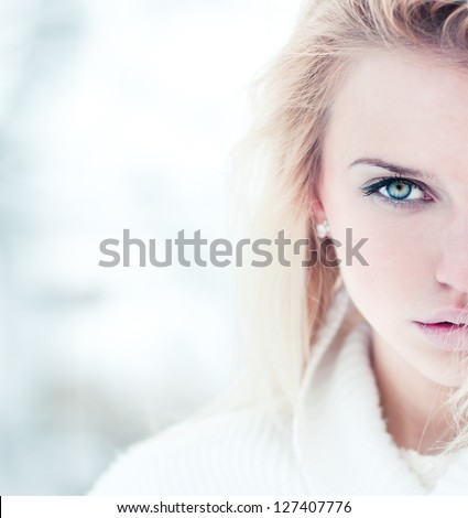 fashion portrait of a beautiful young woman - stock photo