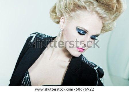 Fashion portrait of a girl in profile - stock photo