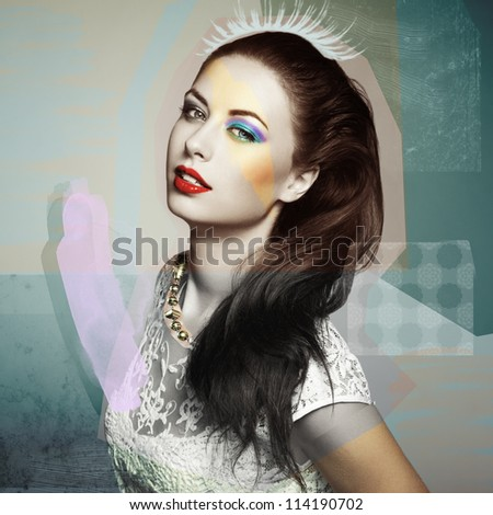 Fashion portrait of a happy young woman smiling. Fashion photo collage - stock photo