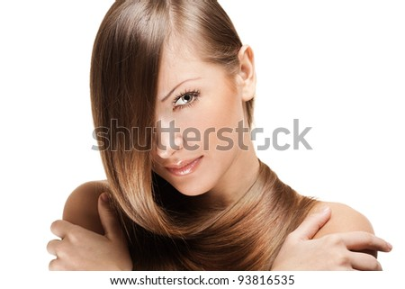 fashion portrait of a woman with beautiful long shiny hair - stock photo