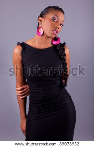 Fashion portrait of a young beautiful african american woman - stock photo