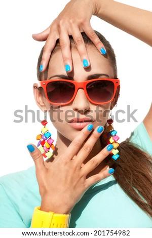 Fashion portrait of beautiful stylish woman in sunglasses  - stock photo