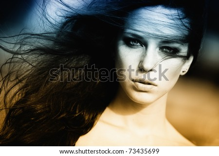 fashion portrait of beautiful young woman - stock photo