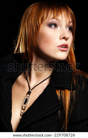 Fashion portrait of beauty model - stock photo