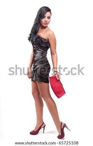 Fashion portrait of elegant sexy brunette woman - stock photo