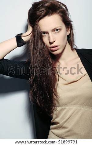 fashion portrait of extremly beautiful young woman for magazine - stock photo