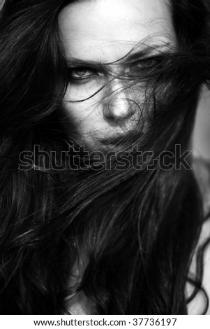 fashion portrait of extremly beautiful young woman for magazine cover - stock photo