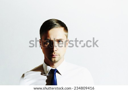 Fashion portrait of handsome man. Businessman.Young man in tie. Business concept. Serious Boy - stock photo