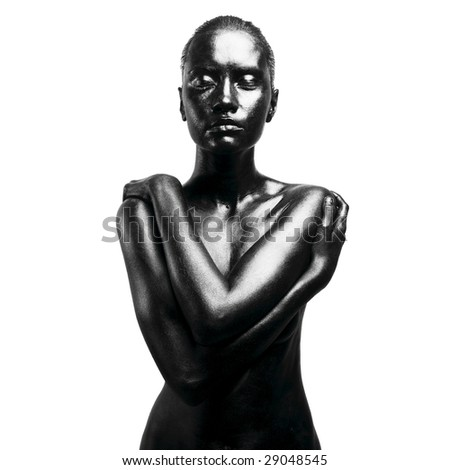 Fashion portrait of made up black woman - stock photo